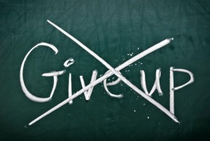 Do not give up, words on blackboard